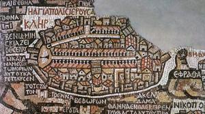 Die Stadtvignette von Jerusalem auf der Mosaikkarte von Madeba (Wikimedia Commons).