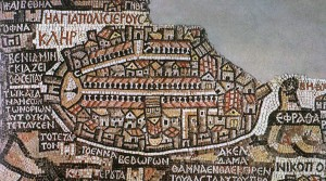 The city vignette of Jerusalem from the mosaic map of Madeba (Wikimedia Commons).